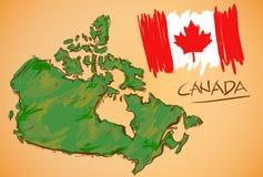 Vetor do mapa de Canadá e da bandeira nacional Fotos de Stock