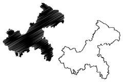 Vetor do mapa de Chongqing ilustração royalty free