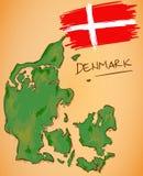 Vetor do mapa de Dinamarca e da bandeira nacional Fotos de Stock Royalty Free