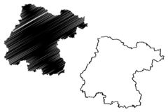 Vetor do mapa de Guanajuato ilustração stock