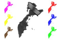 Vetor do mapa de Kamchatka Krai Ilustração Stock