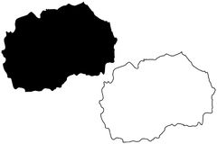Vetor do mapa de Macedônia Foto de Stock Royalty Free