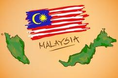 Vetor do mapa de Malásia e da bandeira nacional Fotos de Stock
