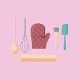 Vetor do material de cozinha ilustração stock