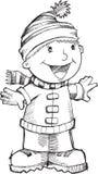 Vetor do menino do canto do Natal da garatuja Fotografia de Stock Royalty Free