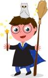 Vetor do menino do feiticeiro dos desenhos animados Fotos de Stock