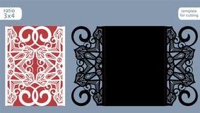Vetor do molde do cartão do convite do casamento do corte do laser Corte o cartão de papel com teste padrão abstrato Cartão de pa Foto de Stock