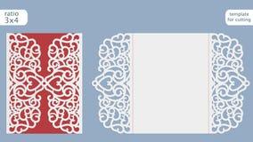 Vetor do molde do cartão do convite do casamento do corte do laser Corte o cartão de papel com teste padrão do laço Molde do cart ilustração royalty free
