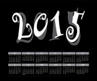 Vetor do molde mensal colorido do calendário do ano 2015 Imagens de Stock Royalty Free
