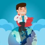 Vetor do mundo da parte superior do trabalhador do homem de negócio Fotografia de Stock