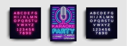 Vetor do néon do cartaz do partido do karaoke Molde do projeto da noite do karaoke, folheto de néon brilhante, projeto moderno da ilustração do vetor