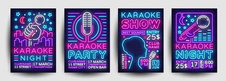 Vetor do néon da coleção do cartaz do partido do karaoke Molde do projeto da noite do karaoke, folheto de néon brilhante, projeto ilustração royalty free