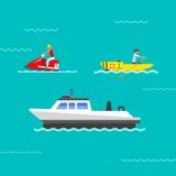 Vetor do navio e dos barcos Fotografia de Stock
