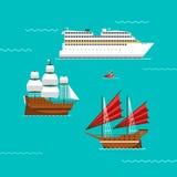 Vetor do navio e dos barcos Foto de Stock