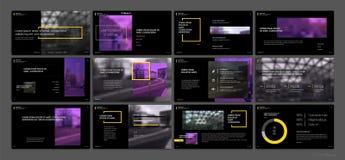 Vetor do negócio da apresentação Template Elementos para apresentações de corrediça em um fundo preto Foto de Stock