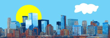 Vetor do panorama da bandeira da skyline da cidade ilustração royalty free
