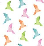 Vetor do papel de dobramento do pássaro, origâmi, fundo sem emenda Foto de Stock