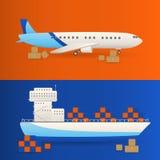 Vetor do petroleiro Navio de carga com os recipientes a bordo Foto de Stock Royalty Free
