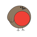 Vetor do pisco de peito vermelho dos desenhos animados Fotos de Stock Royalty Free