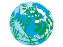 Vetor do planeta e da planta ao redor Imagem de Stock Royalty Free
