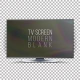 Vetor do plasma do Lcd da tela Tevê lisa realística de Smart Placa moderna curvada da televisão no fundo quadriculado Imagens de Stock Royalty Free