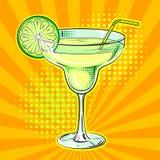 Vetor do pop art do cocktail do álcool do licor ilustração do vetor