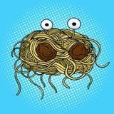 Vetor do pop art do monstro dos espaguetes do voo Imagem de Stock Royalty Free