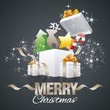 Vetor do preto do sumário das caixas de presente dos elementos de cor do Natal ilustração royalty free
