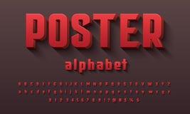Vetor do projeto corajoso moderno do alfabeto 3D ilustração do vetor