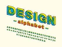 Vetor do projeto corajoso moderno do alfabeto 3D ilustração stock