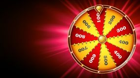 Vetor do projeto da roda da fortuna Jogo de azar do casino Sinal da sorte Folheto do projeto da loteria Ilustração de incandescên ilustração stock