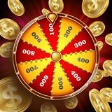 Vetor do projeto da roda da fortuna Roleta 3d Victory Object da fortuna da vitória Lucky Poster Opportunity Design Clube noturno ilustração stock