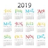 Vetor 2019 do projeto da tipografia do texto do cartão do ano novo feliz do planejador do calendário ilustração stock