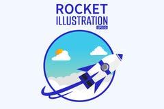 Vetor do projeto de conceito da ilustração do desenhador de desenhos animados 3d Rocket Background Fotografia de Stock Royalty Free