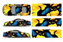 Vetor do projeto do envoltório do decalque do carro Projetos de competência do jogo do fundo da listra abstrata gráfica para o ve ilustração royalty free