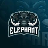 Vetor do projeto do logotipo da mascote do elefante com estilo moderno do conceito da ilustra??o para a impress?o do crach?, do e ilustração royalty free