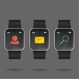 Vetor do relógio esperto com ícone social Imagem de Stock