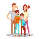 Vetor do retrato da família Pais, crianças feliz Cartaz, anunciando o molde Ilustração isolada dos desenhos animados ilustração do vetor