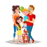 Vetor do retrato da família Paizinho, mãe, crianças Em Santa Hats cheerful Cumprimento, cartão, projeto colorido Isolado ilustração do vetor