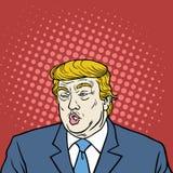 Vetor do retrato de Donald Trump Pop Art Caricature ilustração stock