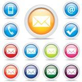Vetor do símbolo ajustado do correio do bloco do ícone Fotos de Stock Royalty Free