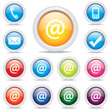 Vetor do símbolo ajustado do correio do bloco do ícone @ Fotografia de Stock