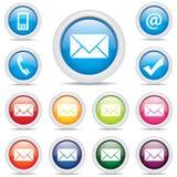 Vetor do símbolo ajustado do correio do bloco do ícone Fotografia de Stock