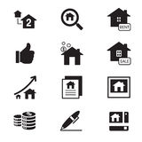 vetor do símbolo da ilustração dos ícones dos bens imobiliários da silhueta Imagens de Stock