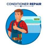 Vetor do serviço de reparações do condicionador de ar Técnico Repairing Classic Conditioner na parede Nos desenhos animados branc ilustração royalty free
