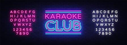Vetor do sinal de néon do clube do karaoke Sinal de néon do molde do projeto do karaoke, bandeira clara, quadro indicador de néon ilustração royalty free