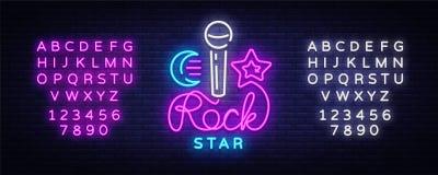 Vetor do sinal de néon da estrela do rock Molde do projeto do vetor do logotipo da estrela do rock, vida noturno, música ao vivo, ilustração stock