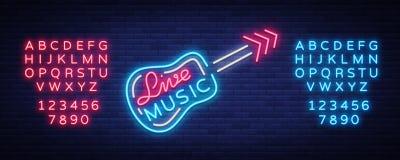 Vetor do sinal de néon da música ao vivo, cartaz, emblema para o festival de música ao vivo, barras da música, karaoke, clubes no ilustração do vetor