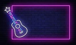 Vetor do sinal de néon da música rock Molde de néon do projeto da estrela do rock do quadro, bandeira clara, quadro indicador da  ilustração royalty free