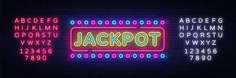 Vetor do sinal de néon do jackpot Sinal de néon do molde do projeto do casino, bandeira clara, quadro indicador de néon, propagan ilustração do vetor